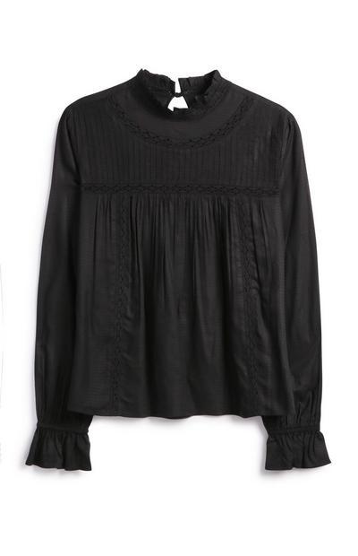 Black Lace Insert Shirt