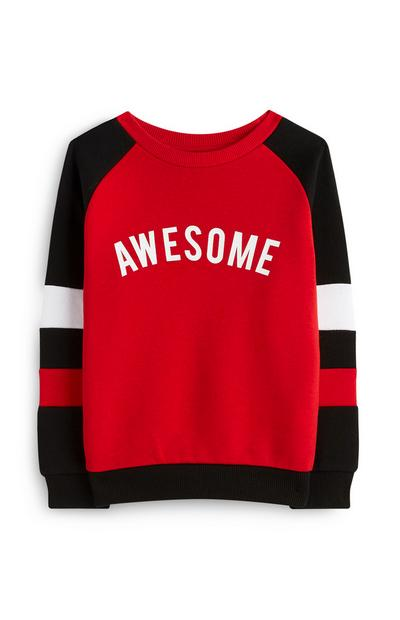Younger Boy Red Awesome Jumper