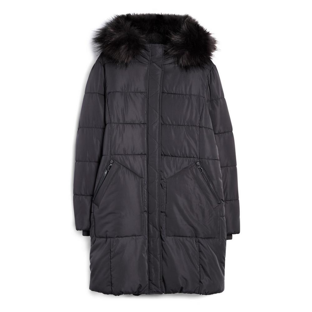 Black Long Parka With Faux Fur Hood by Primark