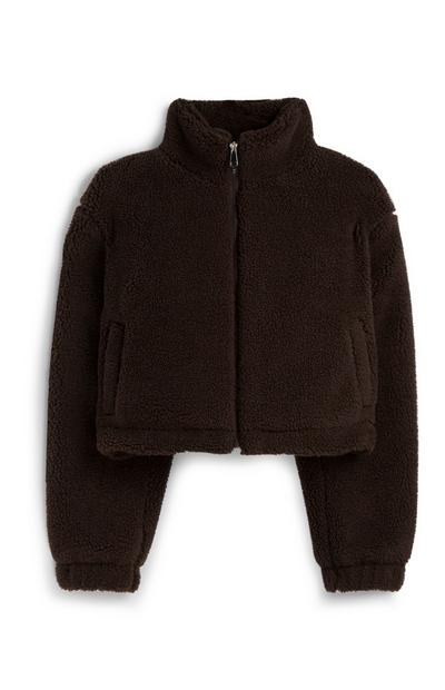 Cropped Brown Borg Jacket