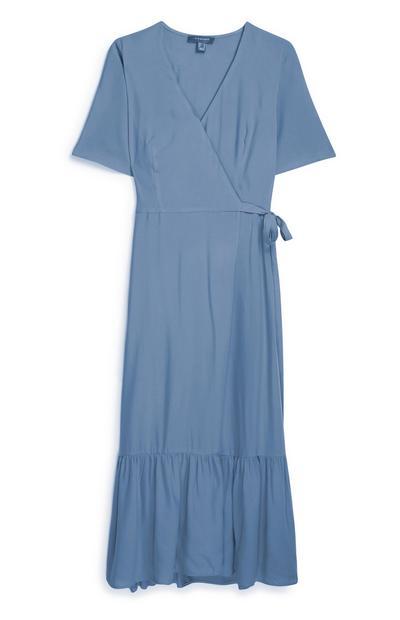 Blue Midi Wrap Dress