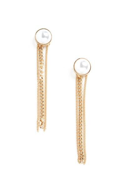 Ohrhänger mit Perlen und Ketten