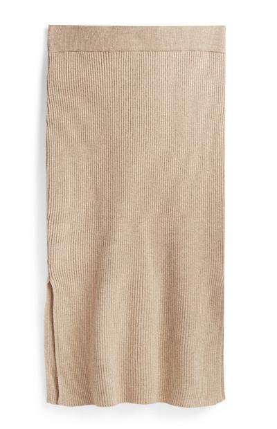 Camel Ribbed Skirt