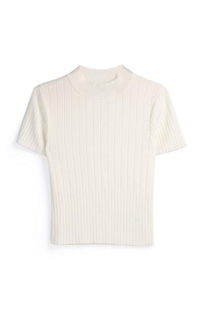 Ivory Short Sleeve Knit Top