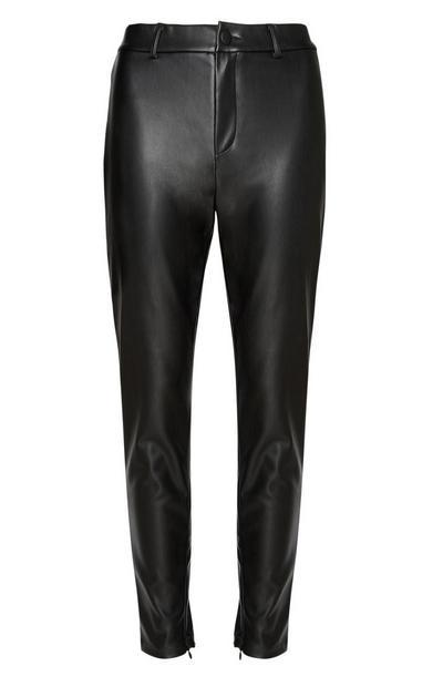 Black Faux Leather Trouser