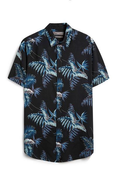 Blue Floral Leaf T-Shirt