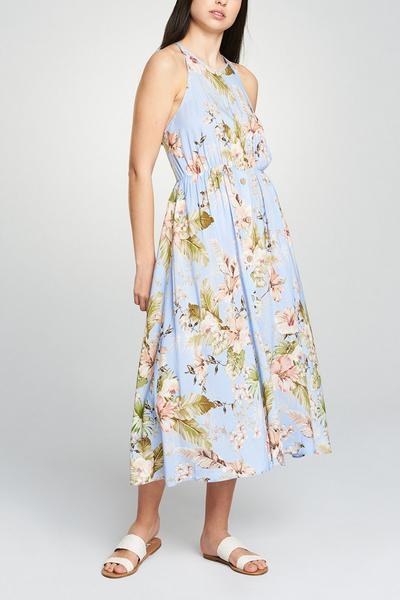 Floral Button Midi Dress