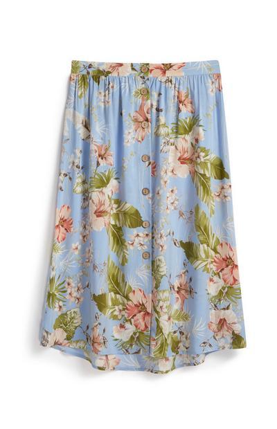 Blue Floral Skirt
