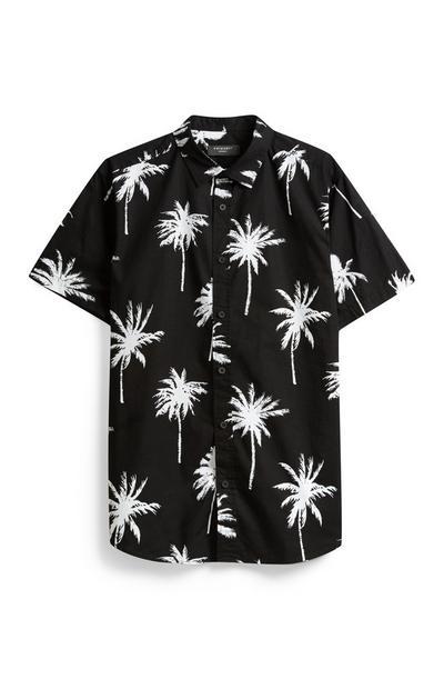 Black Palm Tree Print Shirt