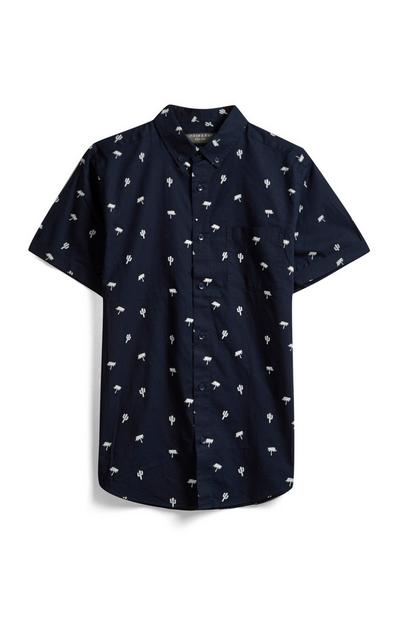 Marineblaues Hemd mit Kakteen-Print