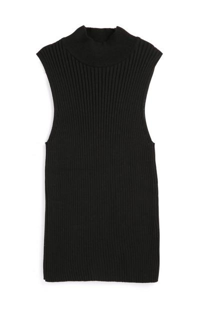 Black Short Sleeve Knit Dress