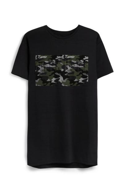 Black Camo Print T-Shirt