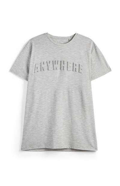 Graues T-Shirt mit geprägtem Spruch