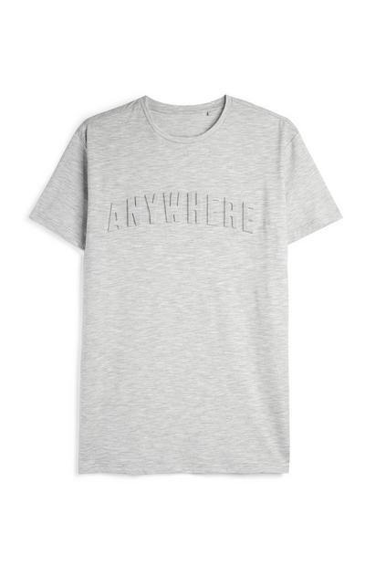 Grey Embossed Slogan T-Shirt
