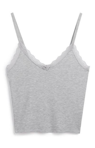 Grey Lace Trim Cami Top