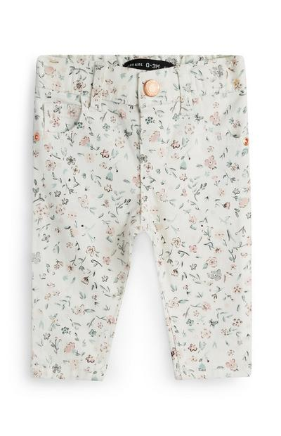 Baby Girl Floral Twill Trousers