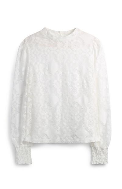 Ivory High Neck Lace Top