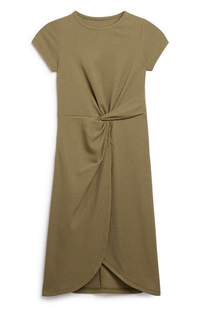 Older Khaki Wrap Dress