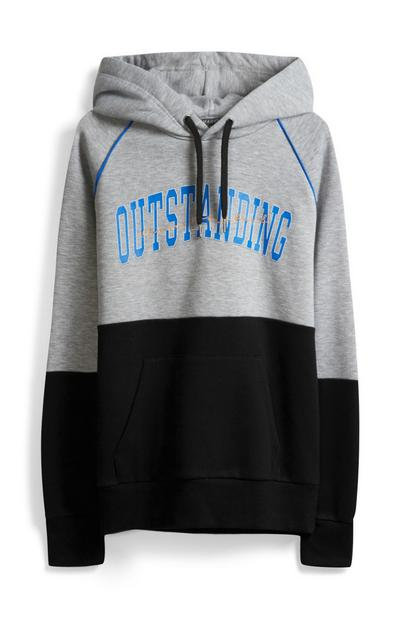 Black And Grey Slogan Hoody