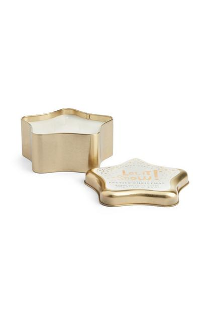 Gold Star Tin Candle