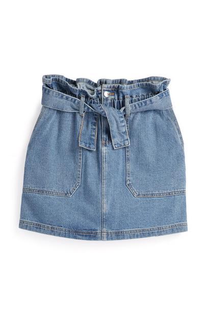 Light Blue Belted Denim Skirt