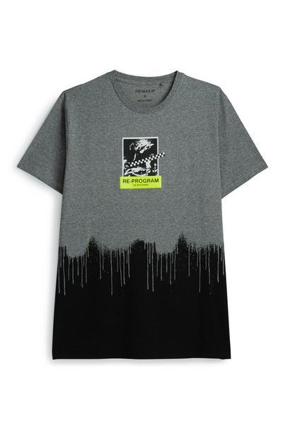 Graues T-Shirt mit Farbeffekt