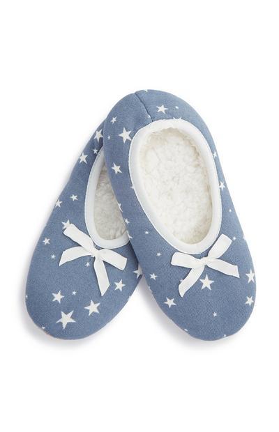 Blue Stars Slipper Socks