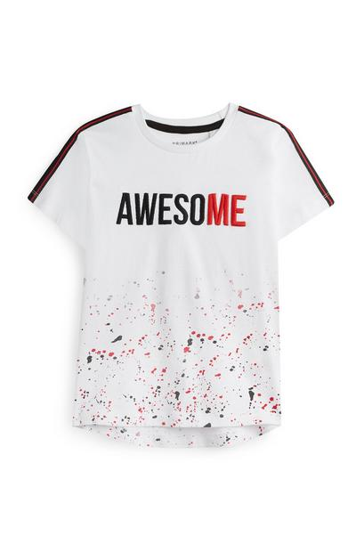 Younger Boy White Awesome T-Shirt