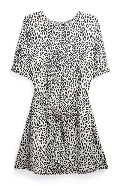 Black And White Leopard Tie Front Dress