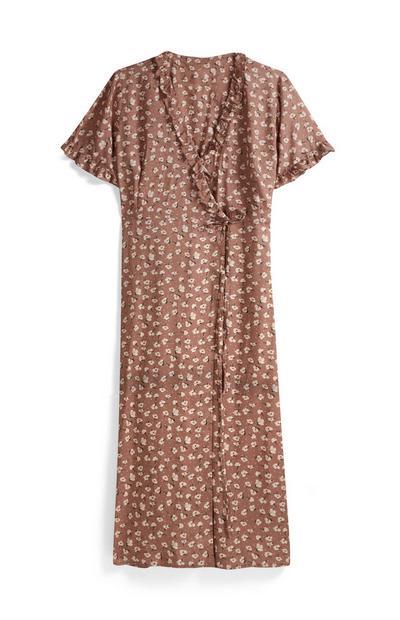 Brown Floral Midi Dress