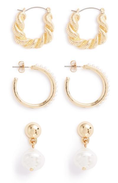 Mix Pearl Earrings 3Pk