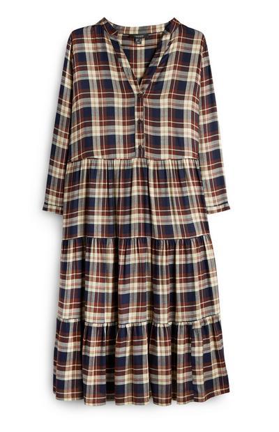 Brown Check Smock Dress