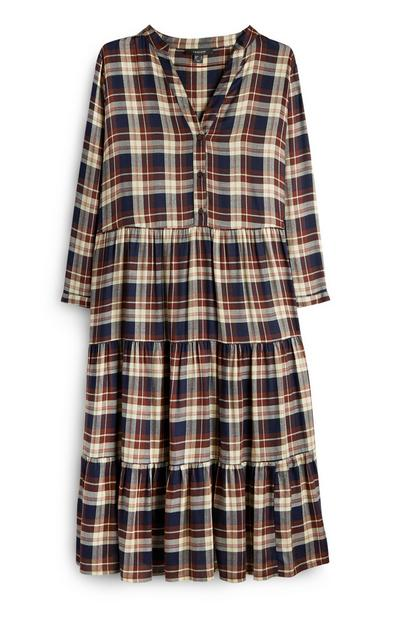 Brown Check Smock Dress