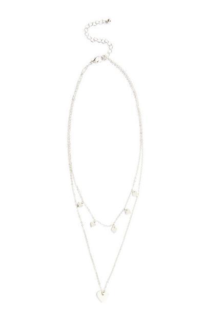 Mehrreihige Halskette mit Herzanhänger