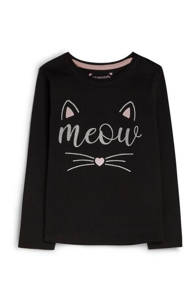 Younger Girl Black Cat Jumper