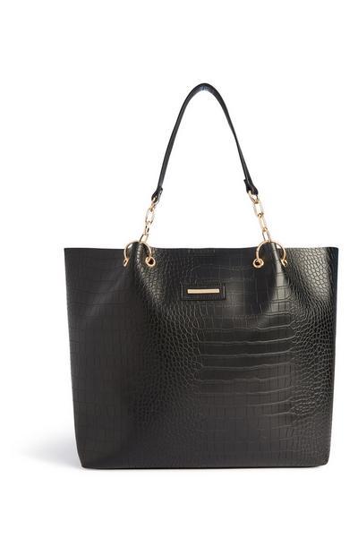 Black Croc Texture Tote Bag