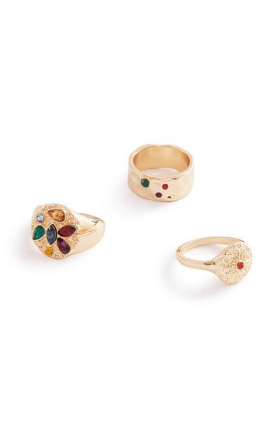 Colour Stone Rings 3Pk