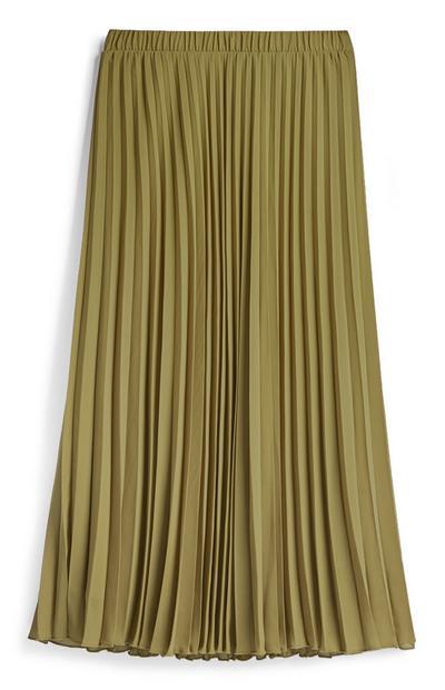 Khaki Pleated Midi Skirt