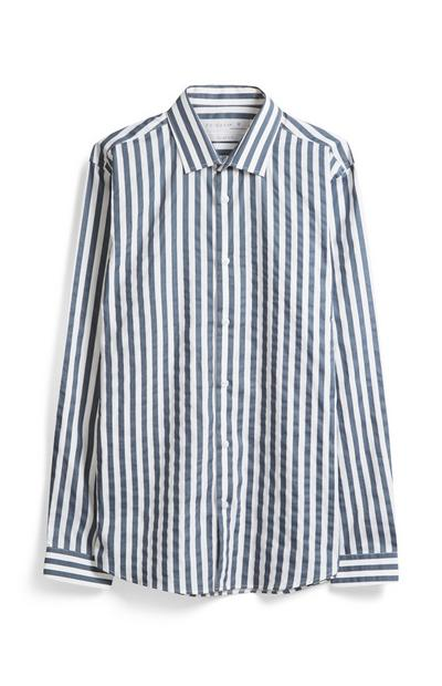 Grey And White Stripe Shirt