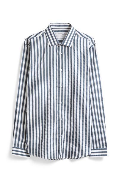 Grey And White Stripe Shirt
