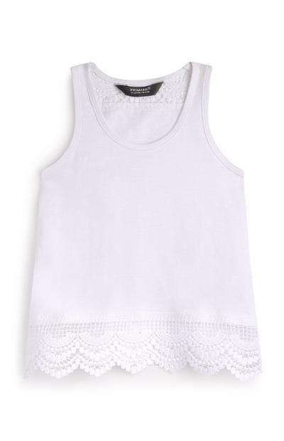 Younger Girl White Crochet Top