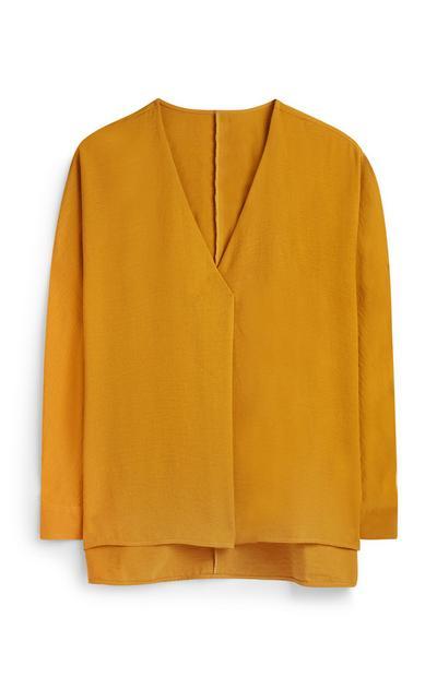 Mustard Oversized Pleat Front Blouse