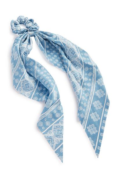 Blue Pattern Tie Hair Band