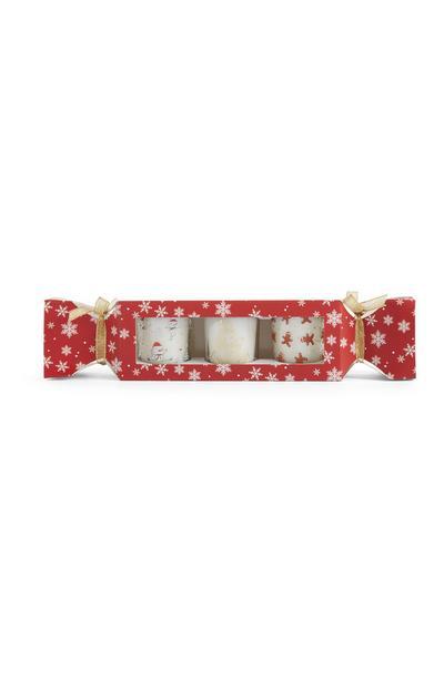 Christmas Candle 3Pk Cracker