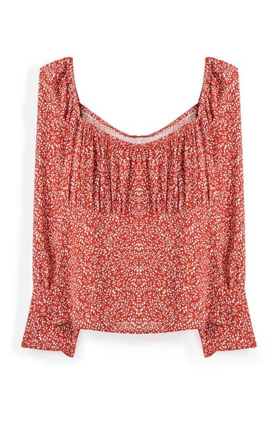 Red Square Neck Floral Top