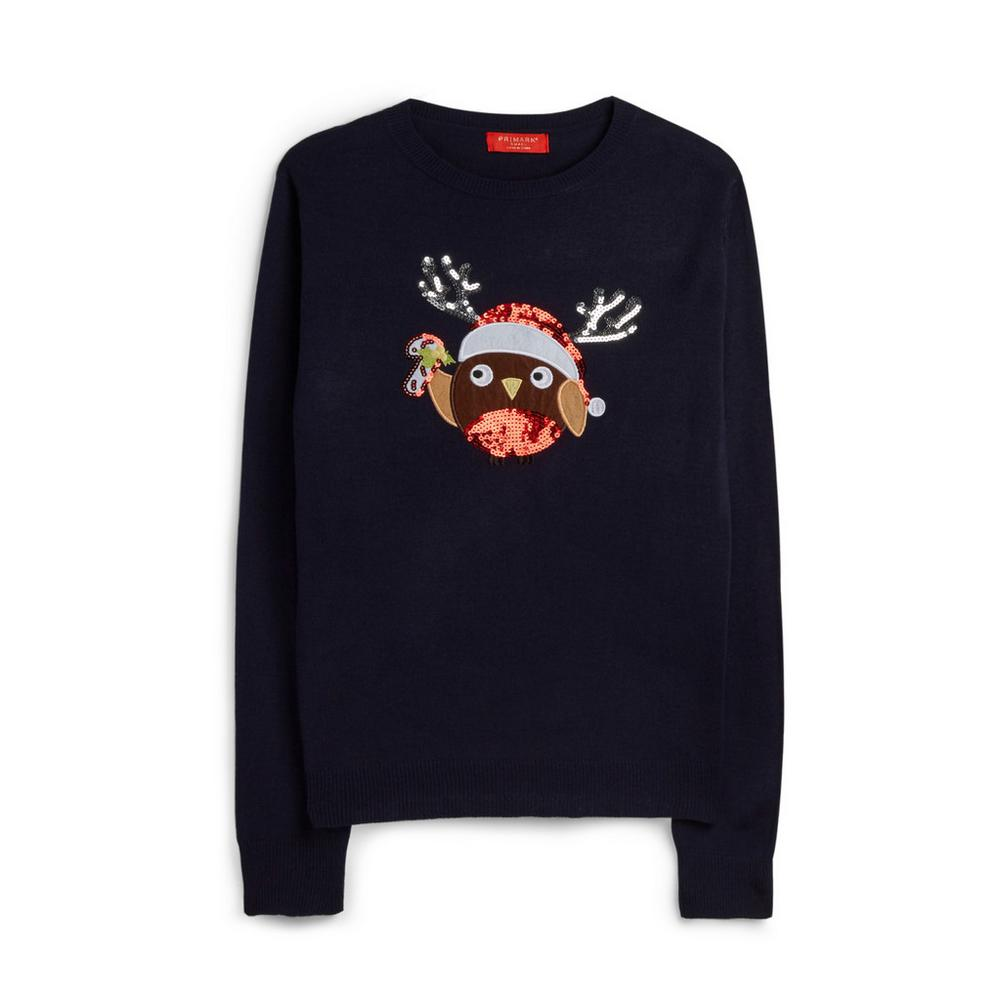 Sequin Robin Christmas Jumper by Primark