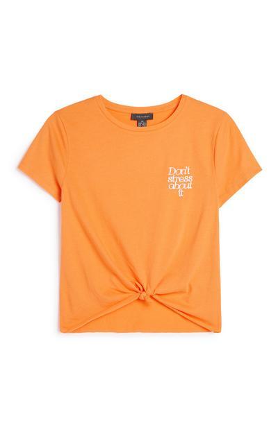 Orange Slogan Knot T-Shirt