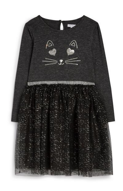 Younger Girl Cat Tulle Dress