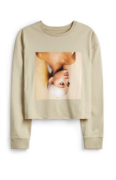Beige Ariana Grande Cropped Jumper