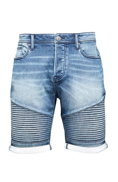 Ribbed Denim Shorts